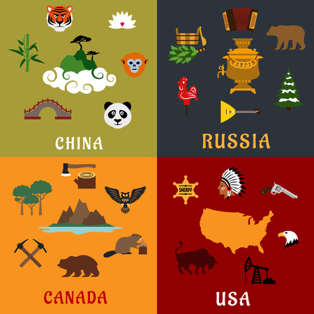 rare animals: USA, China, Russia and Canada travel concept with nature landmarks, rare animals, historical and national industry flat icons
