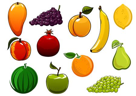limon caricatura: frutos manzana, naranja, plátano, uvas, mango, melocotón, sandía, albaricoque, pera, granada y limón maduros sanos. Aislado en blanco, para la cosecha agrícola o el diseño de alimentos