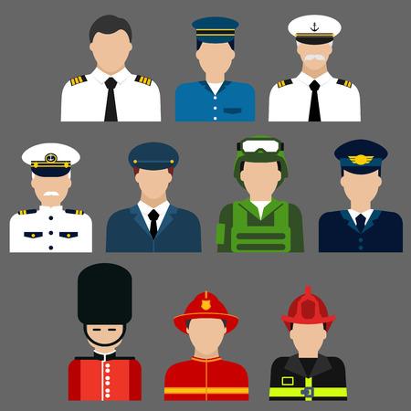 プロのユニフォームと帽子の男性と消防士、兵士、パイロット、セキュリティおよび船の船長の職業アバターのフラット アイコン