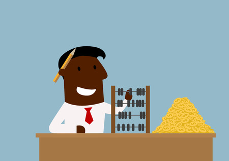 african americans: Happy cartoon african american businessman counting money with wooden abacus. Success and wealth concept themes design