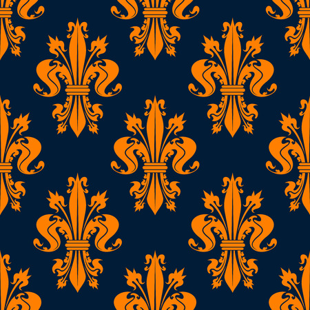 victorian wallpaper: Seamless victorian royal floral pattern with stylized orange fleur-de-lis flowers on dark blue background. May be used for wallpaper or interior design Illustration