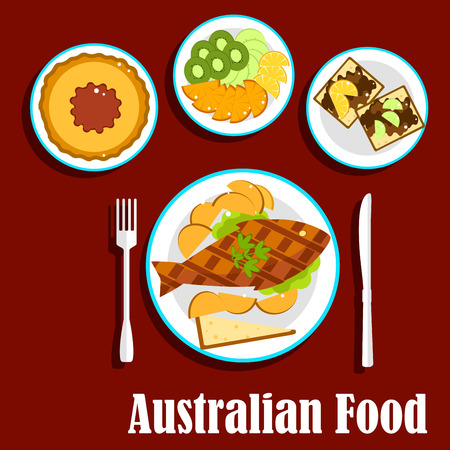 fruit salad: Australian cuisine dishes with fish and chips, meat pie with tomato sauce, fruit salad with slices of apple, orange, kiwi and lemon fruits, toasts with brown australian food pasta Illustration