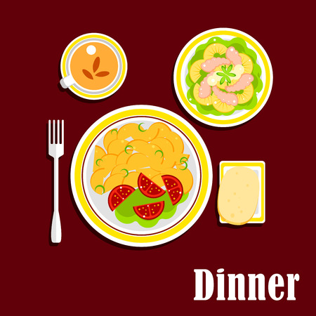 fried potatoes: Appetizing dinner served on table with fried potatoes, fresh tomato vegetables, seafood salad with shrimp, pineapple and lettuce, wheat bread and cup of black tea