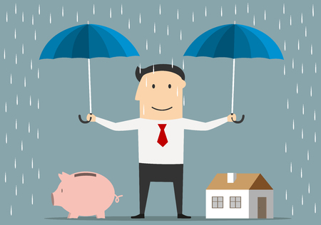 Cartoon happy businessman holds umbrellas over house and piggy bank. Saving money and investment concept