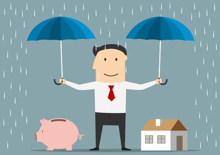 Cartoon glücklich Geschäftsmann hält Regenschirme über Haus und Sparschwein. Geld sparen und Anlagekonzept