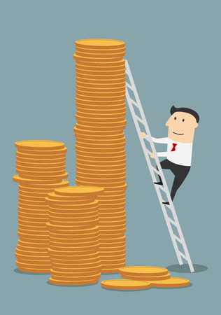 wealth: Cartoon successful businessman climbing to stacks of golden coins. Success, wealth or fast money concept design