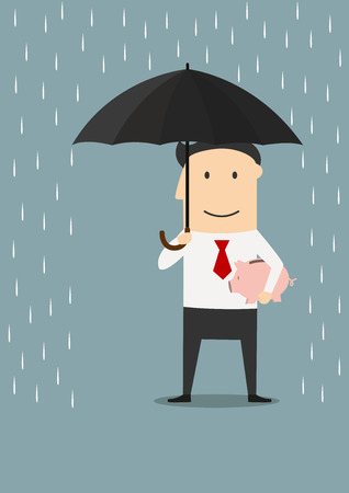 weather protection: Cartoon smiling businessman protecting piggy bank with open umbrella. Financial risk, saving or crisis concept design Illustration
