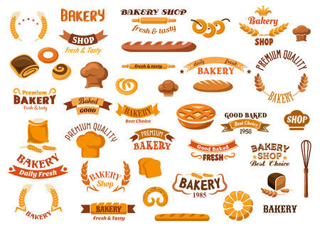 Bakery and pastry design elements with assorted kinds of breads and sweet buns, pie, pretzels, bagels, baker hats, flour and wheat ears, whisk, rolling pins and ribbon banners with headers