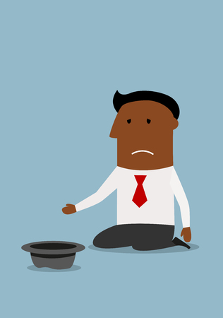beg: Kneeling bankrupt cartoon african american businessman begging for money with hat. Bankruptcy or financial crisis concept theme design Illustration