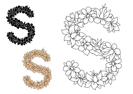 colorless: Capital letter S, composed with pattern of flowers and leaves in outline colorless, black and brown variations. Retro alphabet and font element