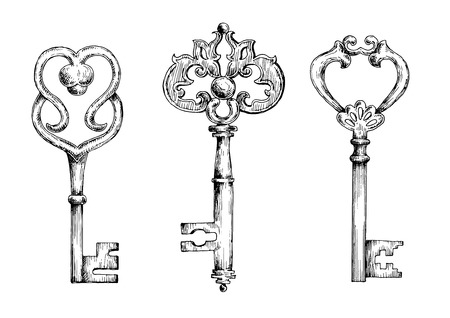 door key: Vintage ornate filigree keys or skeletons, decorated by metal scroll-work and swirls. Sketch illustrations