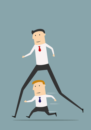 dominance: Cartoon businessman with long legs winning business competition with ordinary colleague. Career advantage or corporate challenge concept
