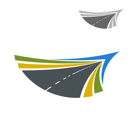 rural road: Rural road abstract colorful icon with flowing lines of yellow and green roadsides and blue sky, disappearing into the distance, for transportation themes design