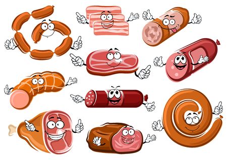 Cartoon sausages, bacon, beef steak, roast beef, salami, pepperoni and bologna characters with happy faces. For butcher shop or meat food theme