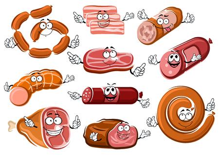 Salsicce fumetto, pancetta, bistecca di manzo, arrosto di manzo, salame, peperoni e Bologna personaggi con facce felici. Per macelleria o il tema di cibo a base di carne Archivio Fotografico - 48585568