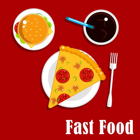 fizz: Fast food lunch flat icons of pizza with tomatoes, mushrooms and cheese, cheeseburger with fresh vegetables, cold soda with drinking straw