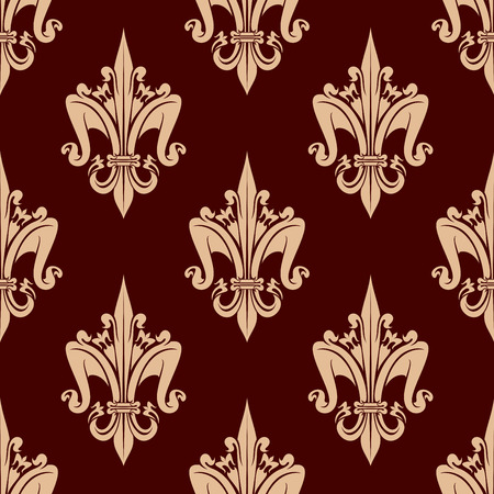 carmine: Fleur-de-lis floral seamless pattern with stylized beige lily flowers on brown carmine background. Interior wallpaper design