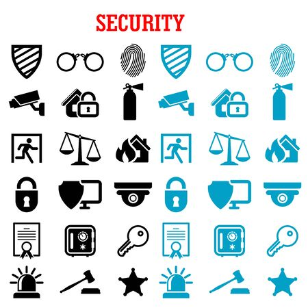 patent key: Security and safety flat icons set with web security shields, padlock, key, safe, video surveillance, fire security, patent, justice scales, handcuffs, fingerprint, extinguisher and sheriff star Illustration