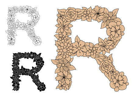 lush foliage: Vintage floral uppercase letter R, decorated by ornate brown flowers and lush foliage. Romantic font or monogram design Illustration