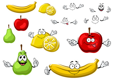 diet cartoon: Bright red apple, juicy yellow lemon, sunny banana and green pear fruits cartoon characters with funny faces, for healthy food or agriculture design Illustration
