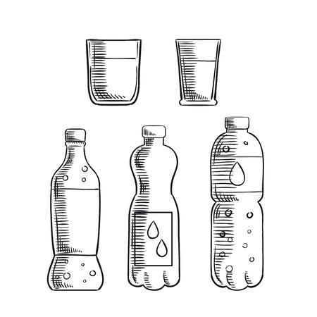 envases plasticos: refresco dulce, agua mineral sin gas y sin gas en botellas de plástico y dos vasos iconos de dibujo. Para la bebida y bebidas de diseño Vectores