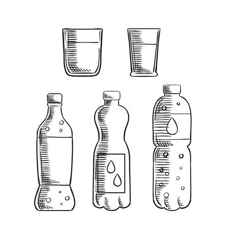 plastic bottles: Sweet soft drink, non-carbonated and carbonated mineral water in plastic bottles and two glasses sketch icons. For drink and beverage design Illustration