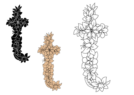 write a letter: Retro floral alphabet font of lowercase letter t, adorned by flowers and leaves in black, brown and outline colorless style. For greeting card or monogram design Illustration