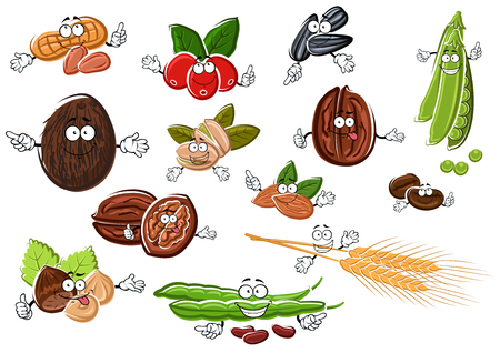 walnut: Isolated peanuts, roasted and fresh coffee beans, coconut, hazelnuts, pistachios, almonds, walnuts, sweet pea, beans, sunflower seeds and wheat ears characters. For food or agriculture design