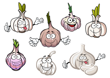 pungent: White, gray and silvery pink bulbs of garlic vegetables cartoon characters with sprouted spicy green leaves and smiling faces, for agriculture harvest design