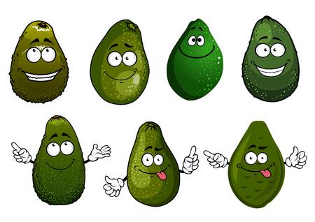 ensalada de frutas: Cartoon sanos orgánicos oscuros verdes frutas de aguacate personajes con caras divertidas, aisladas en blanco. Para la comida o la cosecha de la agricultura diseño vegetariana