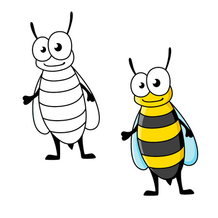 yellow jacket: Cartoon yellow jacket wasp insect character with stinger and smiling face