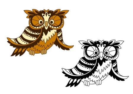 cazador: Historieta del pájaro del búho marrón con plumas mullidas divertidas en la cabeza y las alas, otra variante incoloro. Para Halloween o diseño de la mascota Vectores