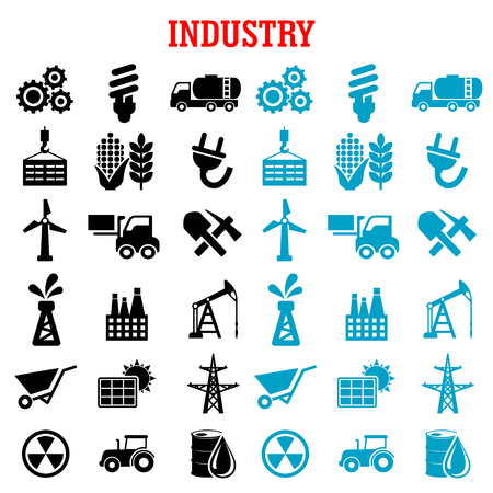 radiacion solar: Industria y energía iconos planos con la bomba de aceite y el barril, la fábrica de la refinería y el tractor, el maíz, el trigo, la radiación, el panel solar y los engranajes, el combustible y las carretillas elevadoras, bombilla y una pala, turbina de viento y la minería, la electricidad