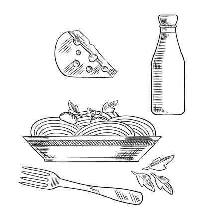 piatto: Cena sana di piatti della cucina italiana con pasta, guarnita con foglie di basilico e salsa di formaggio, con fori e una bottiglia di vino. Sketch stile Vettoriali