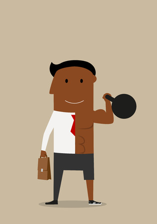 Healthy cartoon african american businessman successfully combined sports and business. Healthy lifestyle and work balance Illustration