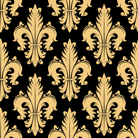 Luxury golden royal floral seamless pattern of stylized fleur-de-lis symbols on black background. May be use in interior or textile design Illustration