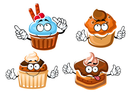 Cartoon delicious chocolate cake with ganache frosting, cupcake with mint cream, muffins with caramel and chocolate glaze. Dessert food menu design Illustration