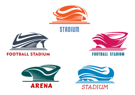 baseball stadium: Bright colorful sporting stadiums or arenas icons for football or soccer, rugby, baseball and basketball competitions or trainings. Isolated background