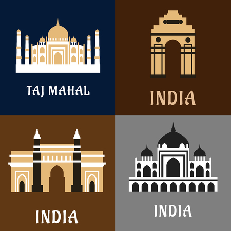 india gate: Indian architecture and landmarks flat icons of historical and worship buildings as Taj Mahal, India Gate and Gateway of India memorials, Humayun emperor tomb