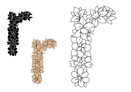 R: Floral small lowercase letter r with blooming wildflowers and buds in outline, brown and black color variations. For vintage font design
