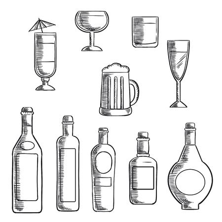 copa de vino: Vino, cerveza, whisky, vodka y botellas de licor con vasos llenos y cóctel mixto. iconos del bosquejo fijó para el diseño de alimentos y bebidas temas
