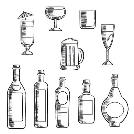 wine glass: Wine, beer, whiskey, vodka and liquor bottles with filled glasses and mixed cocktail. Sketch icons set for food and drinks themes design