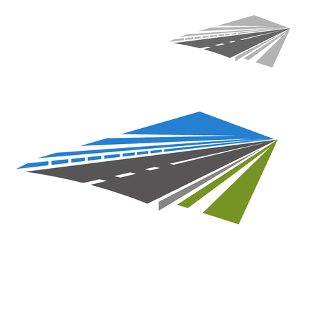 disappear: Icon of speedy highway or freeway with blue sky abstract disappearing beyond the horizon. Travel or vacation theme design