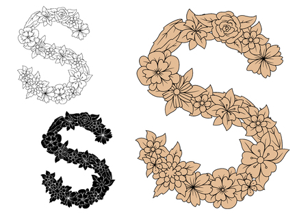 uppercase: Brown floral letter S in uppercase font with vintage ornament of flowers and field herbs, for monogram or decorative alphabet design Illustration