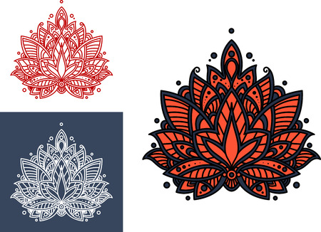 blue petals: Persian flower with bright coral paisley petals, decorated by intricate blue oriental ornament. For textile or lace embellishment design