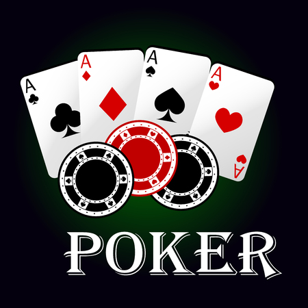 cards poker: Poker game symbol with four aces of playing cards and gambling chips. Casino and gambling themes Illustration