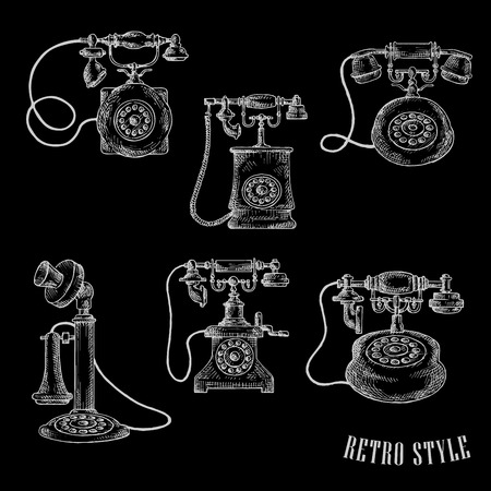 call history: Vintage rotary dial telephones isolated sketch icons for telecommunication or retro concept design