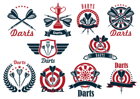 Darts tournament symbols and icons with dartboards, arrows and trophy bowls, decorated by crowned heraldic shield with wings, laurel wreath, ribbon banners and stars 矢量图像