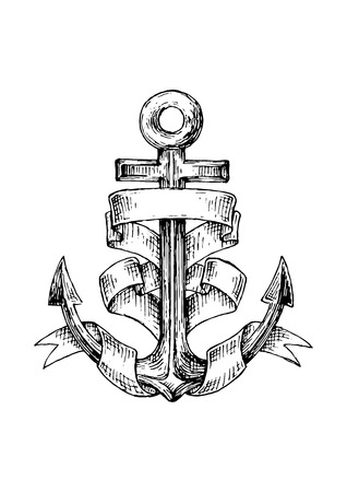 forked: Vintage marine anchor wrapped by wide forked ribbon. For nautical and marine heraldry design. Sketch image