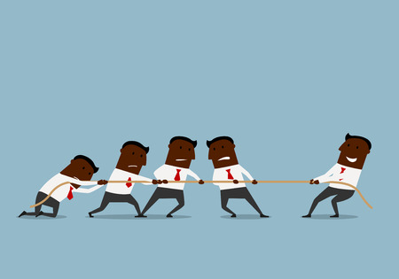 tug war: Business competition and human resources concept. Cartoon smiling businessman is easily winning a tug of war battle with a group of businessmen